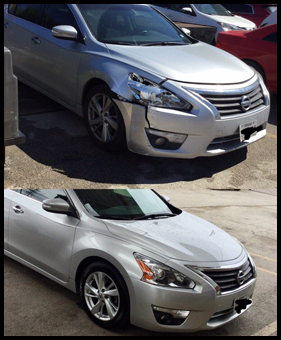 Before and After at Jacinto City Collision Center & Auto Repair!